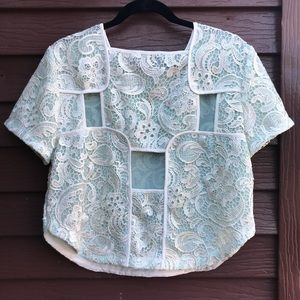 Endless Rose mint green lace cap sleeve crop top L